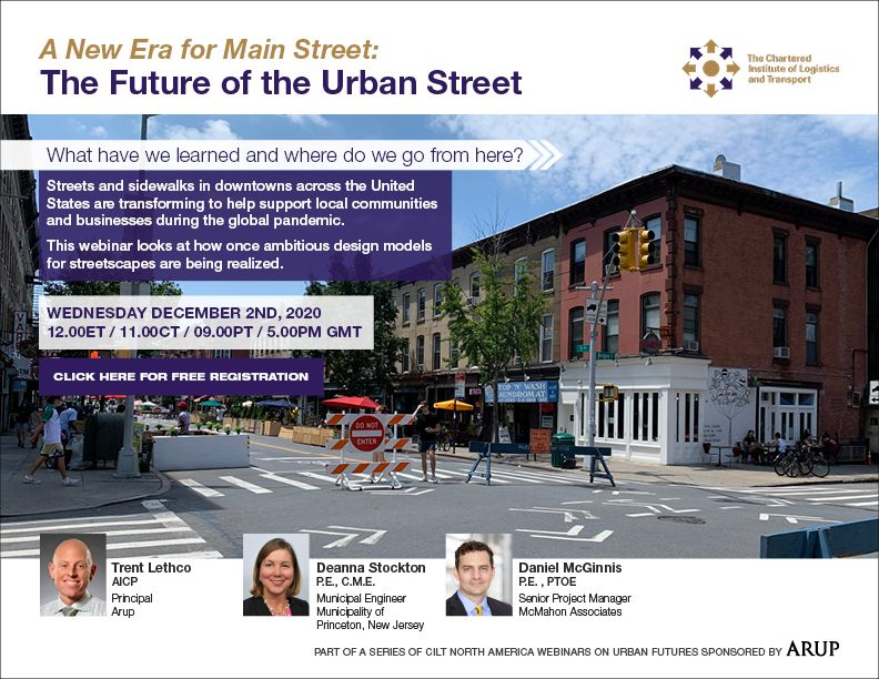 Register Now! 2 December 2020 - Urban Futures webinar series #2: A New Era for Main Street: The Future of the Urban Street sponsored by Arup
